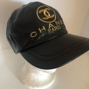 Authentic Chanel Leather Baseball Cap Hat Gold CC